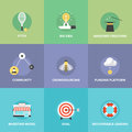 Crowdsourcing and funding money flat icons crowd service investing platform for innovation project creative development of small Royalty Free Stock Photography
