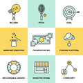 Crowdsourcing and funding money flat icons line set of crowd service investing platform for creative project development of small Royalty Free Stock Photos