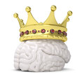 Crown on the brain render a white background Royalty Free Stock Image