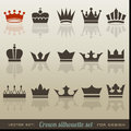 Crown collection and silhouette set Stock Images