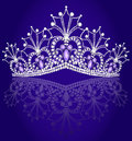 Crown diadem feminine with reflection on turn blue