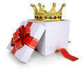 Crown of a gift box isolated render on white background Royalty Free Stock Image