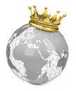 Crown on a globe golden white background Royalty Free Stock Images