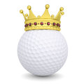 Crown on a golf ball render white background Stock Image
