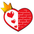 Crown and heart on a white background Royalty Free Stock Photography
