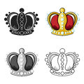 Crown icon in cartoon style isolated on white background. Museum symbol stock vector illustration.