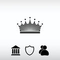 Crown icon, vector illustration. Flat design style