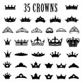 Crown icons. Princess crown. King crowns. Icon set. Antique crowns. Vector illustration. Flat style. Royalty Free Stock Photo