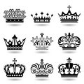 Crown icons set Stock Images
