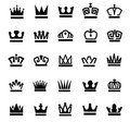 Crown icons vector black set on white Stock Photography