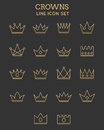 Crown line icon set