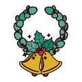 Crown ornament with leaves Christmas and bell Royalty Free Stock Photo
