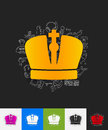 Crown paper sticker with hand drawn elements Royalty Free Stock Photo