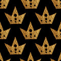 Crown pattern. Hand painted seamless background. Vintage gold illustration.