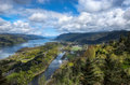 Crown point vista overlooking the columbia river gorge at oregon Stock Images