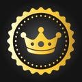 Crown Premium quality stamp. Golden shiny genuine commerce Label/Badge