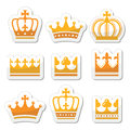 Crown, royal family gold icons set Royalty Free Stock Photo