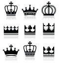 Crown royal family icons set king queen isolated on white Royalty Free Stock Photos