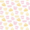 Crown seamless pattern. Golden and pink crowns for princess. Newborn girl vector background Royalty Free Stock Photo