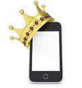 Crown on the smartphone isolated render a white background Stock Photography