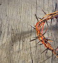 Crown of thorns and drops of blood on wooden background Stock Photos