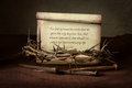 Crown of Thorns and Nails With Scripture Royalty Free Stock Photo