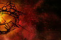 Crown of thorns on red and gold grunge background Royalty Free Stock Photo