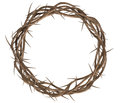 Crown of thorns top a view branches woven into a depicting the crucifixion on an isolated background Stock Photography