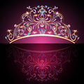 Crown tiara womens gold with precious stones illustration of the Stock Photography