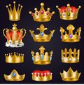 Crown vector golden royal jewelry symbol of king queen and princess illustration sign of crowning prince authority and Royalty Free Stock Photo