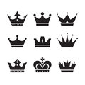 Crown vector icons set. Crowns signs collection. Crowns black silhouettes. Design elements Royalty Free Stock Photo