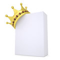 Crown on a white box isolated render background Stock Image