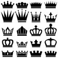 Crowns сollection of black and white Royalty Free Stock Images