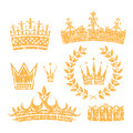 Crowns And Laurel Leaf Wreath Grunge Set Royalty Free Stock Photo