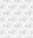 Crowns white pattern seamless with Royalty Free Stock Photo