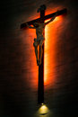 Crucifix of the Catholic Christian faith in silhouette. Royalty Free Stock Photo