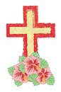 Crucifix with flower as well as we will call cross Stock Images