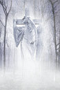 Crucifix forest angel angelic male figure carrying a cross materialising in an atmospheric misty rendered in soft lilac tones Stock Image