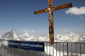 Crucifix on klein matterhorn cable car station with Royalty Free Stock Photo