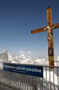 Crucifix on klein matterhorn cable car station with Royalty Free Stock Images
