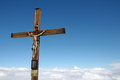 Crucifix at klein matterhorn cable car station with Stock Photography