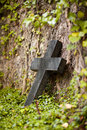 Crucifix an old grave stone with a on the idyllic and historic st john s cemetery in jena Stock Images