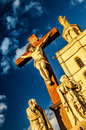 Crucifix at the palace of the popes located in avignon france image can be used for general catholicism Royalty Free Stock Photography