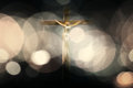 Crucifix photo composition with blurred and flares Royalty Free Stock Photo