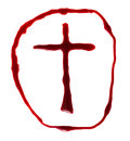Crucifix red made of blood Stock Photos