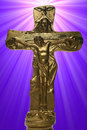 Crucifix in Starburst background Royalty Free Stock Photography