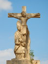 Crucifix stone crucifixion of jesus located on the promenade in valencia Stock Photos
