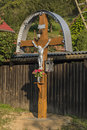 Crucifix in sunny morning in Medzev village Royalty Free Stock Photo