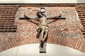 Crucifix wooden of jesus christ on the wall Royalty Free Stock Images