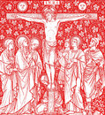 Crucifixion of Jesus Christ in red Royalty Free Stock Photo